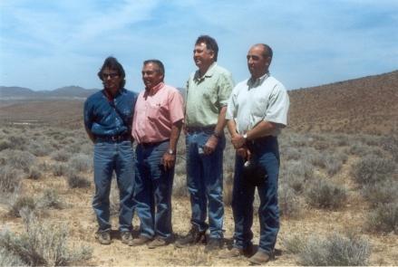X 15 Crash Members of Maj. Michael J. Adams family stand near crash site.
